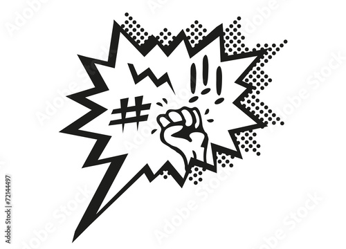 Ärger und Wut Comic Sprechblase Wallpaper Mural