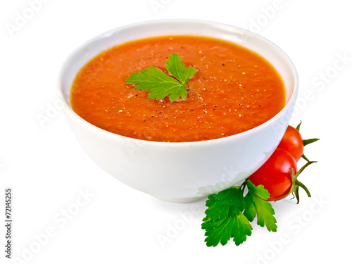 Fotografie, Obraz  Soup tomato in white bowl with parsley and tomatoes