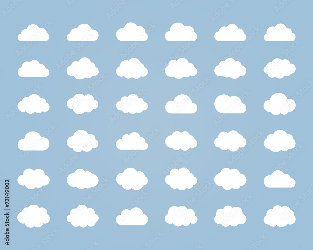 Fototapety, obrazy: Big vector set of thirty-six white cloud  shapes