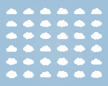 Big Vector Set Of Thirty-six White Cloud  Shapes