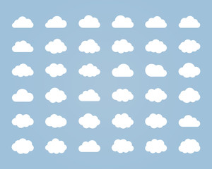 Fototapeta Big vector set of thirty-six white cloud shapes