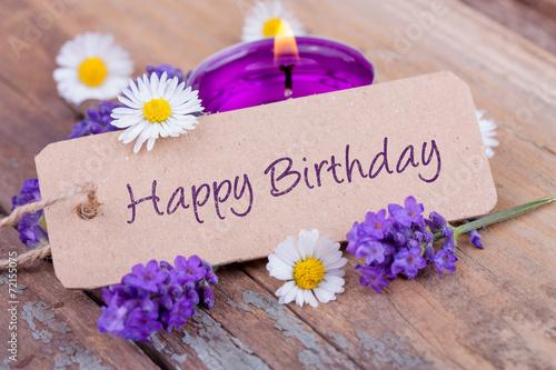 Foto op Canvas Madeliefjes Happy Birthday - Geburtstagskarte