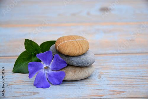 Foto auf AluDibond Natur Drie Zen stenen op oud hout met paarse bloem