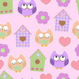 Seamless vector background with colorful owls