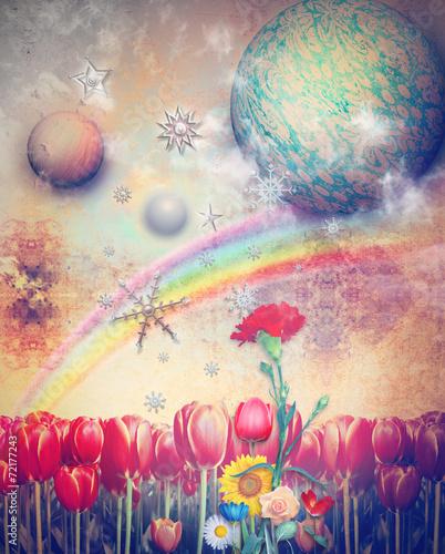 Tuinposter Imagination Lost paradise wirh rainbow,stars and snow flakes
