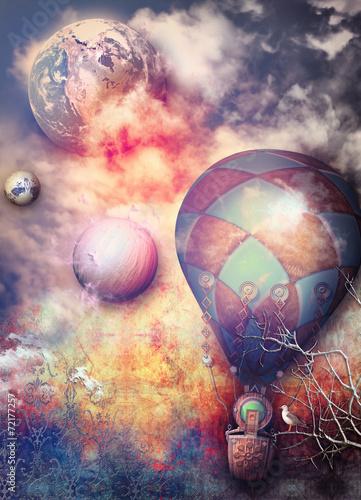 Tuinposter Imagination Flight of montgolfier in to storrm