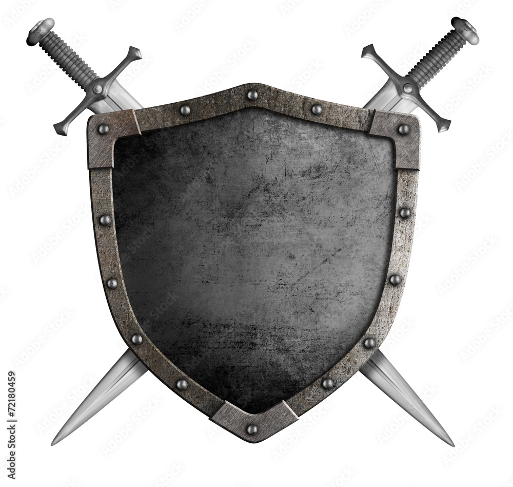 Fototapeta coat of arms medieval knight shield and sword isolated