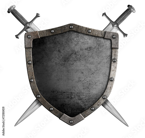 Obraz na plátně coat of arms medieval knight shield and sword isolated