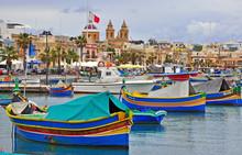 Maltese Boats In Valletta Harbour