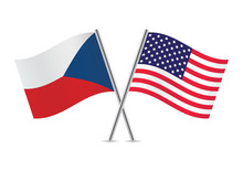 American And Czech Flags. Vect...