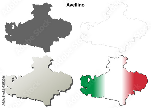 Avellino blank detailed outline map set Canvas Print
