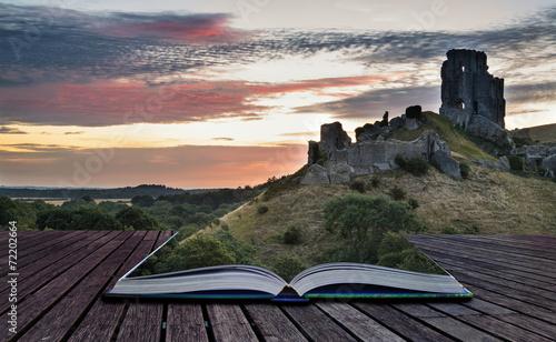 Poster Salmon Beautiful Summer sunrise over landscape of medieval castle ruins