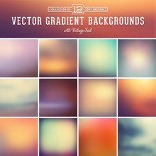 12 Abstract Blurred Gradient Background With Vintage Feel