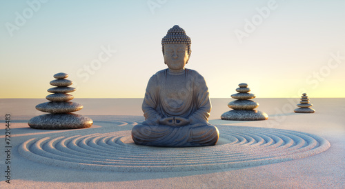 Printed kitchen splashbacks Buddha Buddha in Abendstimmung