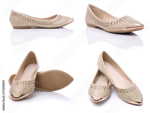 Obraz Urban comfortable flat shoes for women on a white background - fototapety do salonu