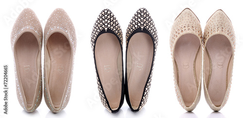 Obraz Collection of beautiful shoes for women on a white background - fototapety do salonu