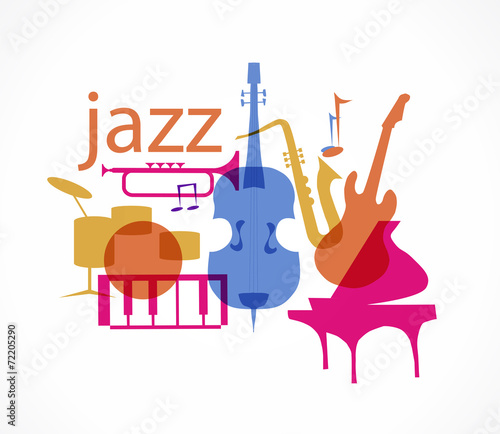 Photo  Colorful Jazz instruments set. isolated on white. illustration