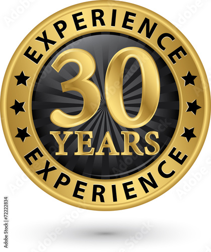 Fotografia  30 years experience gold label, vector illustration