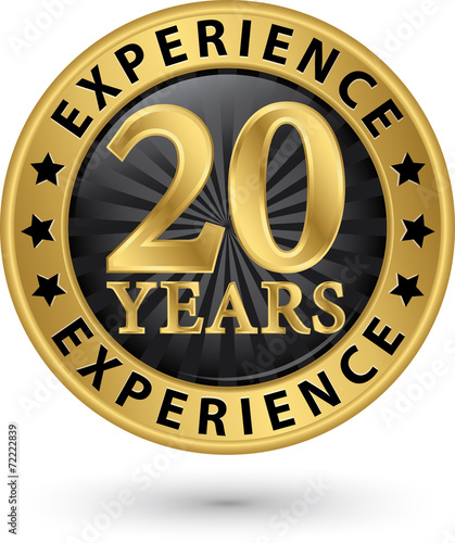 Fotografia  20 years experience gold label, vector illustration