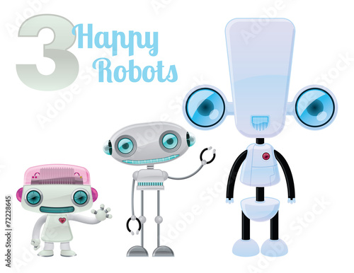 Fotografie, Obraz  Three Happy Robots