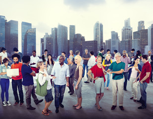 Multiethnic Group of People Cityscape Concept