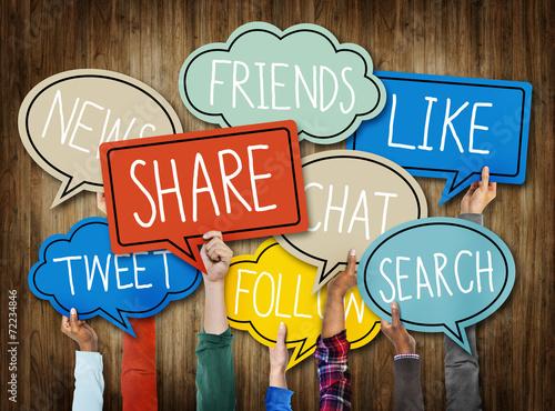 Fotografie, Tablou  Hands Holding Speech Bubbles with Social Media Words
