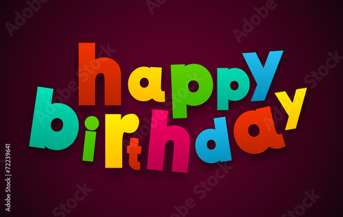 Photo  Paper happy birthday colorful sign.