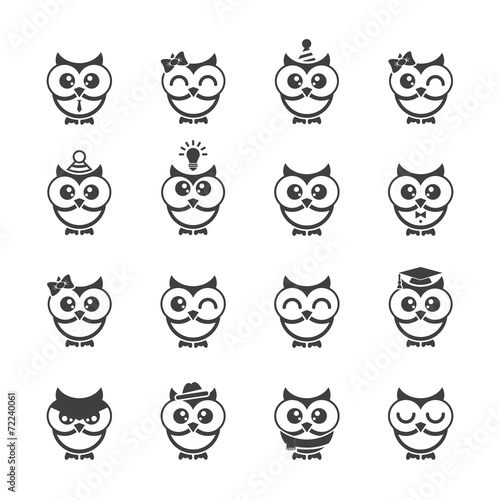Spoed Foto op Canvas Uilen cartoon Owl icons set.
