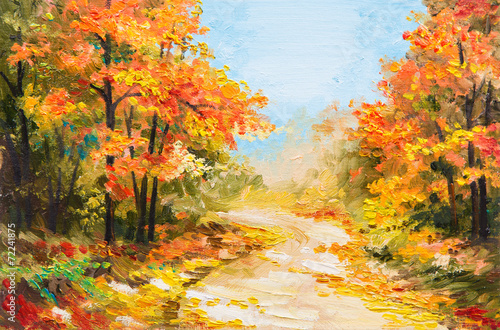 Fototapety, obrazy: oil painting - autumn forest