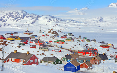 Poster Antarctique Colorful houses in Greenland