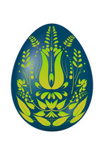 Easter Egg Blue With Yellow Green Floral Designs. Vector Illustr