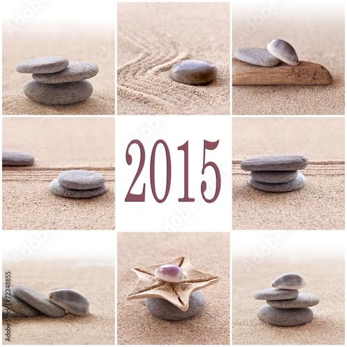 Photo sur Plexiglas Zen pierres a sable 2015 zen pebbles stones and sand square collage