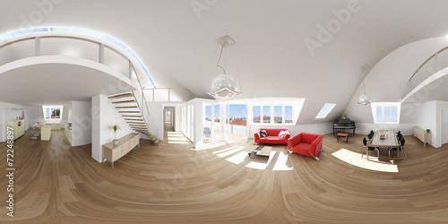 Fotografia  360° attic apartment livingroom rendering 3d