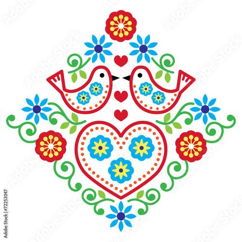 Fotografija  Folk art floral vector pattern with bird and flowers