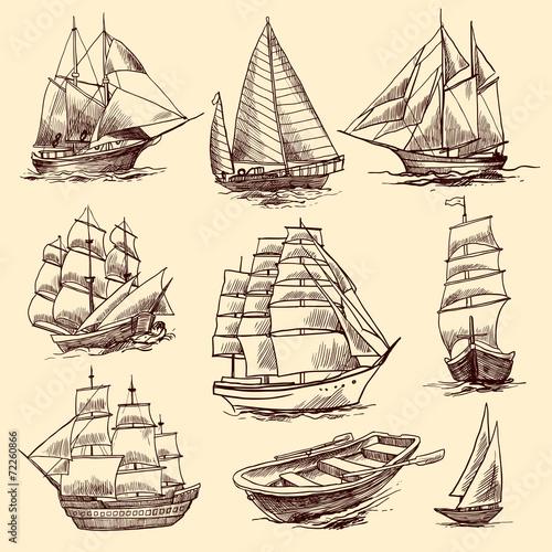 In de dag Schip Ships and boats sketch set