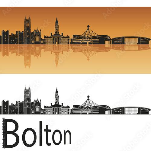 Bolton skyline in orange background Canvas Print