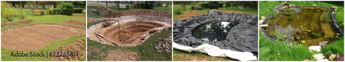 Photo Construction d'un bassin de jardin