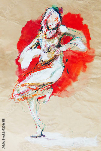 Fotografia  Drawing on paper of dancing Bulgarian folklore girl