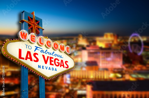 Spoed Foto op Canvas Las Vegas Welcome to Never Sleep city Las Vegas