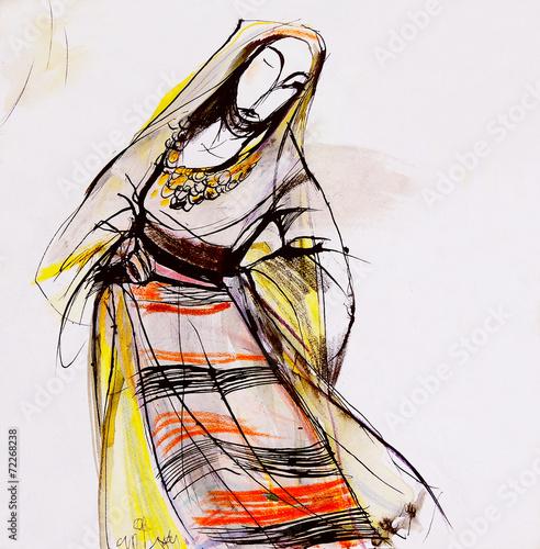 Fotografia  Drawing of Bulgarian folklore dress