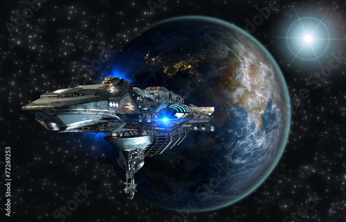 Spaceship leaving Earth for interstellar deep space travel Poster