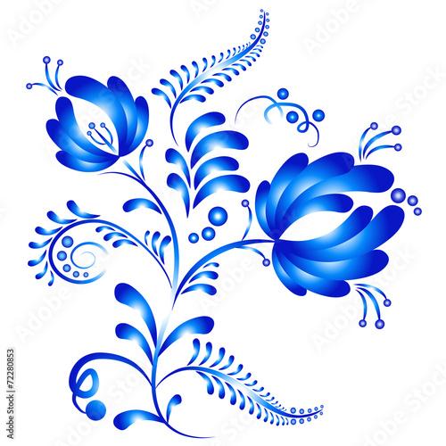 Fotografia  Floral ornament in Gzhel style. Russian folklore
