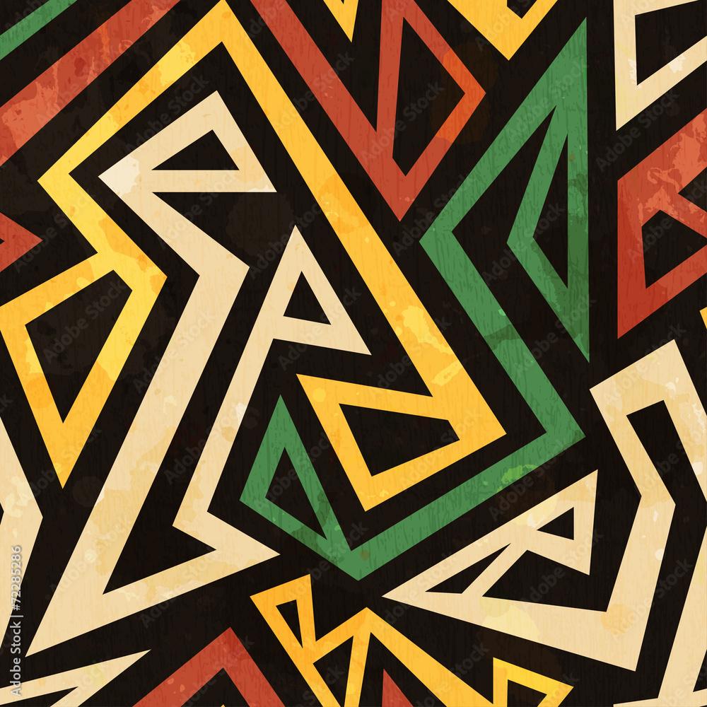 Fototapeta african geometric seamless pattern with grunge effect