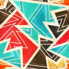 Naklejka youth geometric seamless pattern with grunge effect