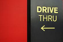 Yellow Drive Thru Text With Arrow