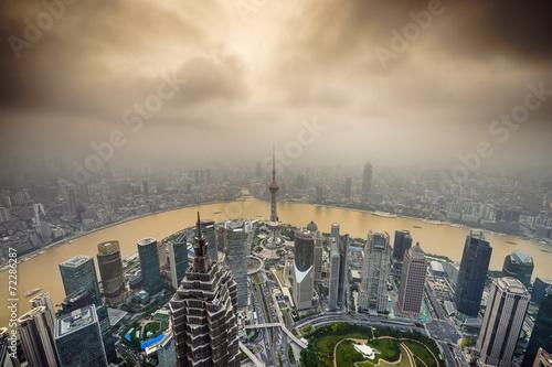 Tuinposter Shanghai, China City Skyline
