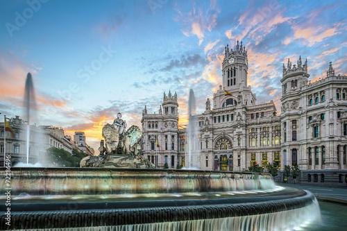 Spoed Fotobehang Madrid Madrid, Spain at Communication Palace at Dawn