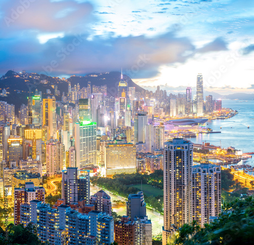 Spoed Foto op Canvas Hong-Kong Hong Kong city Skyline