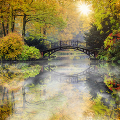 Fototapeta Las Autumn - Old bridge in autumn misty park