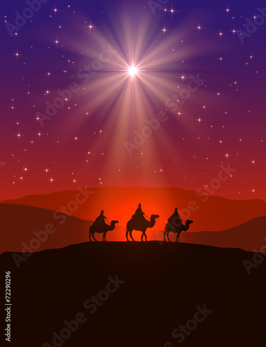 Christmas star and three wise men Wall mural